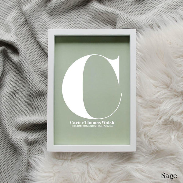 Sweet Petite | The Beginning monogram baby birth announcement poster in sage green