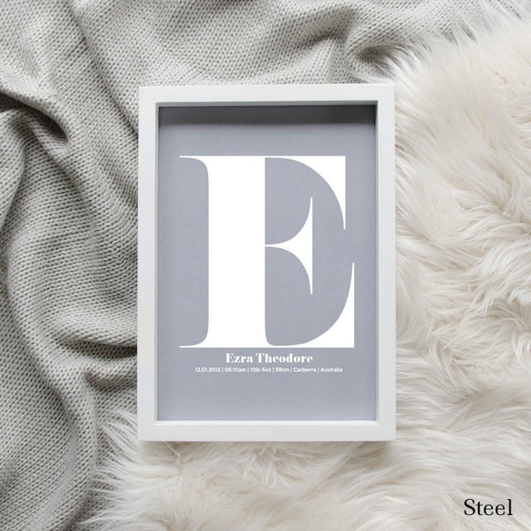 Sweet Petite | The Beginning monogram baby birth announcement poster in steel grey