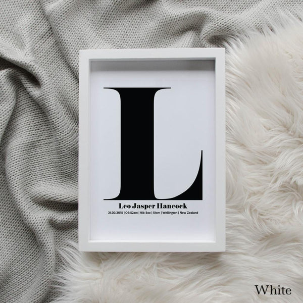 Sweet Petite | The Beginning monogram baby birth announcement poster in white