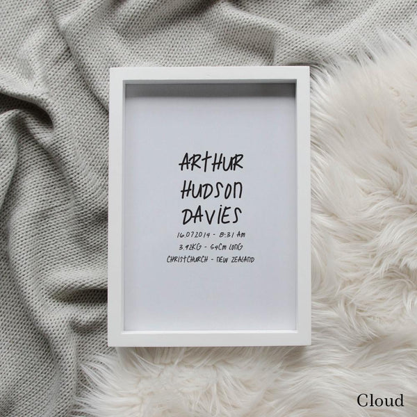 Sweet Petite | The Edgy baby birth announcement poster in cloud grey
