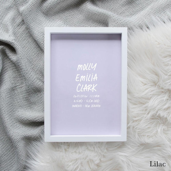 Sweet Petite | The Edgy baby birth announcement poster in lilac purple