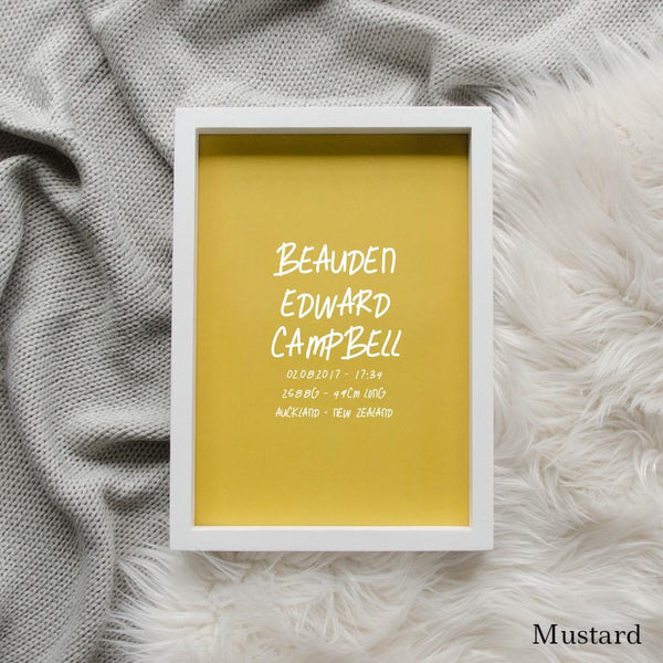 Sweet Petite | The Edgy baby birth announcement poster in mustard