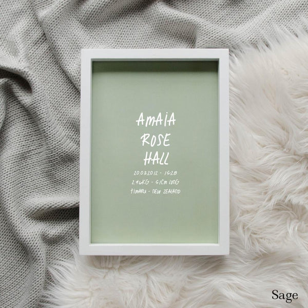 Sweet Petite | The Edgy baby birth announcement poster in sage green