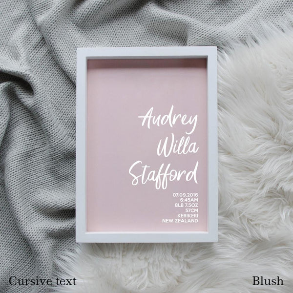 Sweet Petite | The Simplistic baby birth announcement poster in blush pink