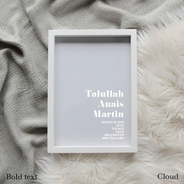 Sweet Petite | The Simplistic baby birth announcement poster in cloud grey