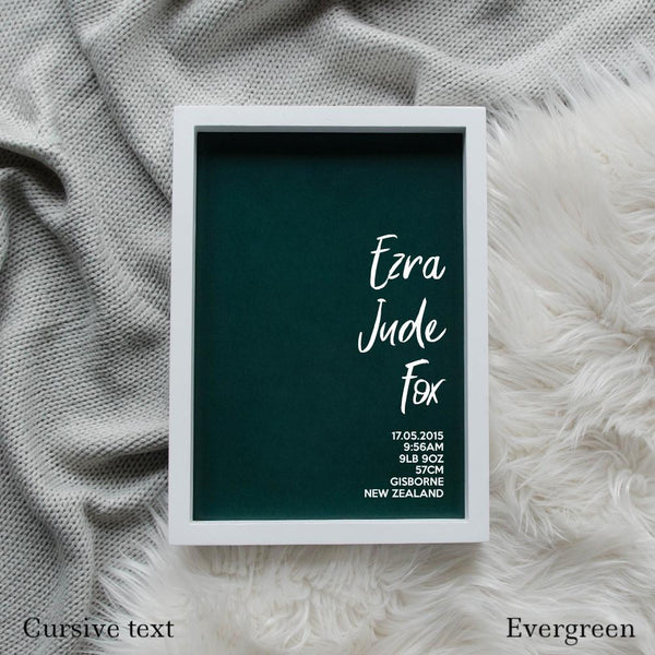 Sweet Petite | The Simplistic baby birth announcement poster in evergreen