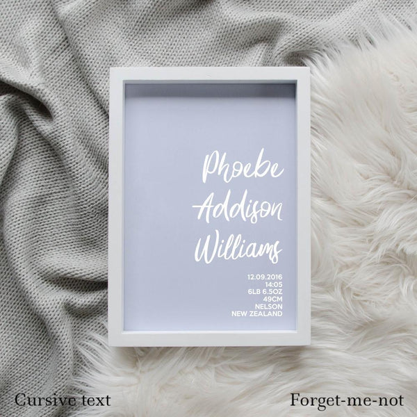 Sweet Petite | The Simplistic baby birth announcement poster in forget-me-not blue