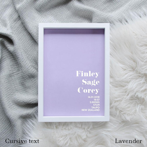 Sweet Petite | The Simplistic baby birth announcement poster in lavender purple