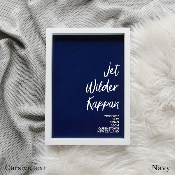 Sweet Petite | The Simplistic baby birth announcement poster in navy blue