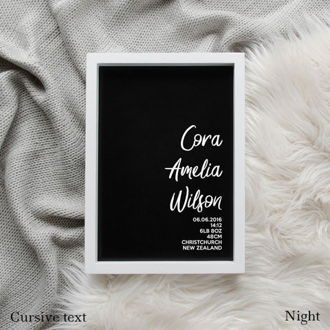 Sweet Petite | The Simplistic baby birth announcement poster in night black