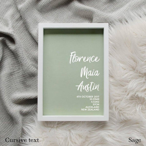 Sweet Petite | The Simplistic baby birth announcement poster in sage green
