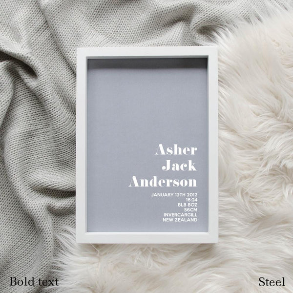 Sweet Petite | The Simplistic baby birth announcement poster in steel grey