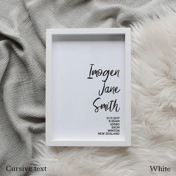 Sweet Petite | The Simplistic baby birth announcement poster in white