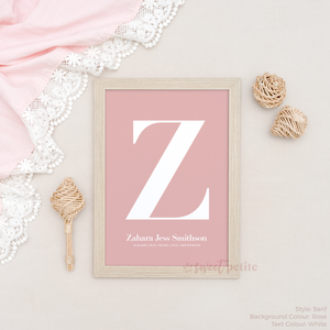 Sweet Petite | Baby birth announcement poster in The Beginning style in Serif option and Rose pink colour