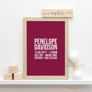 Sweet Petite | The Linear baby birth announcement print in berry pink colour