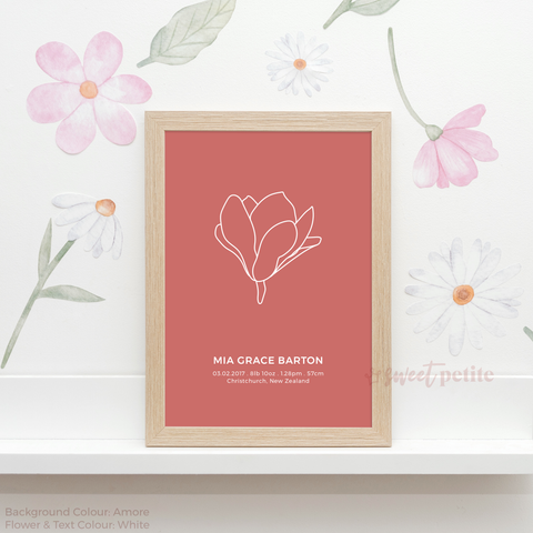 Sweet Petite | Baby birth announcement poster in The Magnolia style and Amore coral colour
