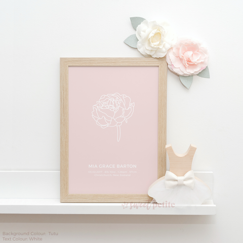 Sweet Petite | Baby birth announcement poster in The Peony style and Tutu pale  pink colour