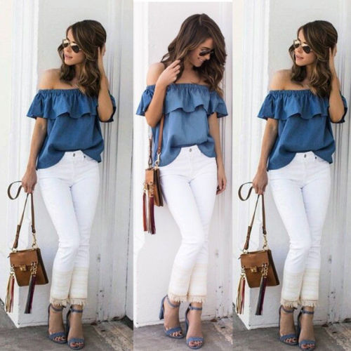 fdb8a05e486 Women s Sexy Summer Off Shoulder Tops Casual Party Shirt Cotton Denim Blouse  - Sell- ...