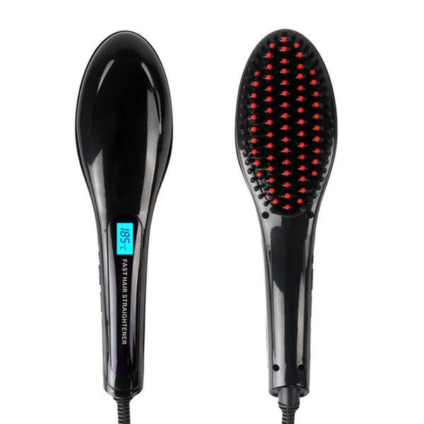 Adjustable Electric Brush Hair Straightener with LED display - Sell-off