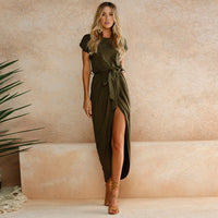 Pure Color Irregular Open Fork Dress - Sell-off