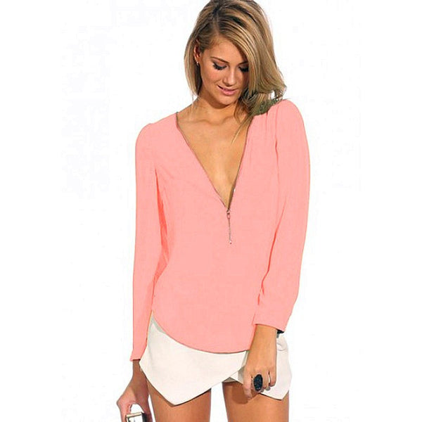 Sexy V-Neck Long Sleeve Zipper Shirt - Sell-off