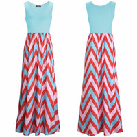 Printed Waves Stripe Long Skirt Dress - Sell-off