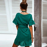 V-Neck Bandage With A Lotus Leaf And Flared dress - Sell-off