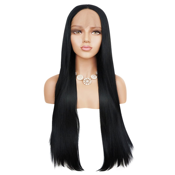 Full Lace Front Natural Straight Black Wigs Synthetic Hair for Women - Sell-off