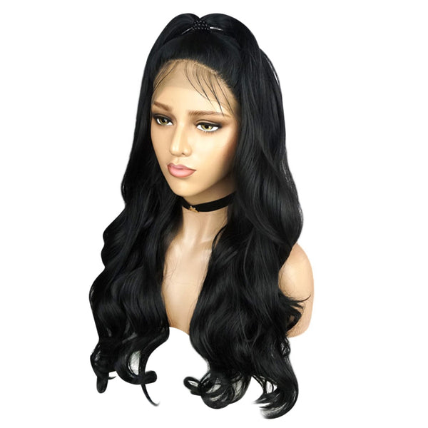 Women Long Wavy Lace Front Free Part Synthetic Wig - Sell-off