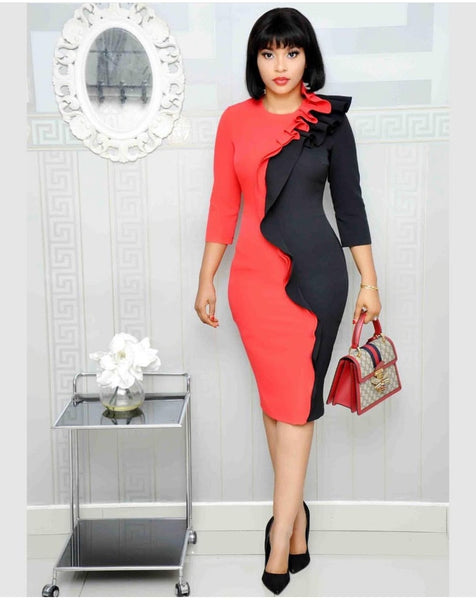 Novelty Elegant Fashion African Style Women O-Neck Knee-length Dress - Sell-off