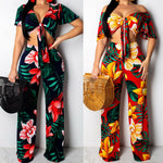 2pcs Women Crop Top Wide Leg Trousers Long Pants Casual Summer Clothing - Sell-off