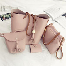 4pcs Women PU Leather Handbag Shoulder Bag Tote - Sell-off