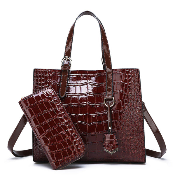 Alligator Print Large Capacity 2 Piece Handbag - Sell-off