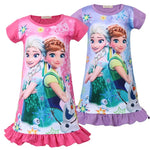 Anna Elsa Girls Dress Snow Queen Princess Night Gown Pajamas - Sell-off