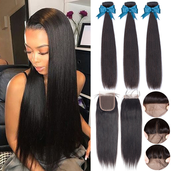 100% Brazilian Hair Weave 3 Bundles Straight Bundles With Lace Closure - Sell-off