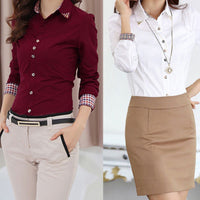 Fashion Women OL Shirt Long Sleeve Turn-down Collar Button Blouse Tops 2 Colors - E - Sell-off