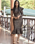 Elegant One Shoulder Mermaid Plaid Vintage Ruffles Midi Dress - Sell-off