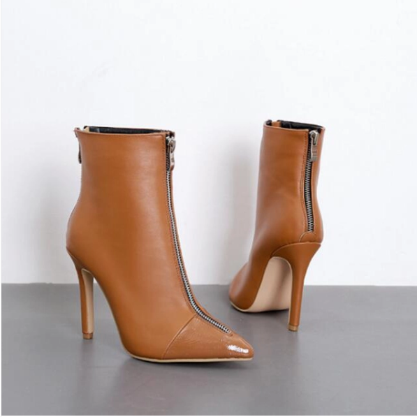 Elegant Zipper Pointed Toe Thin Heel Ankle Boots - Sell-off