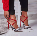 Euro Zebra Print Strappy Patchwork Pumps - Sell-off