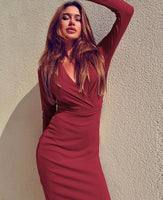 Long Sleeve Stretch Deep V Evening Dress - Sell-off