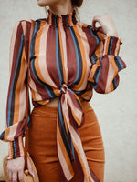 Fashion High Neck Striped Loose Blouse For Women - Sell-off