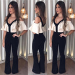 Hot Selling Contrast Color V-Neck Short Sleeve Jumpsuit - Sell-off