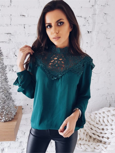 Lace Patchwork Long Sleeve Chiffon Blouse - Sell-off