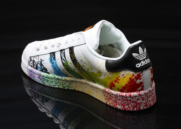best loved 049a6 1ad7c Men's Women's Adidas Superstar Pride Pack Paint Rainbow shoes