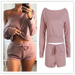 Casual Tracksuit Women Sets Lady Shorts and Cropped Top 2 Pieces Women Outfit - Sell-off