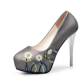 New Arrival Embroidered Stiletto Platform Heels - Sell-off