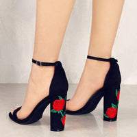 Suede Ankle Strap Block Heels - Sell-off