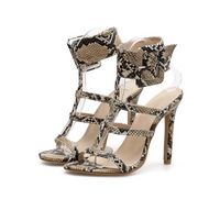 Roma Animal Print Thin Heel  Lady Sandals - Sell-off