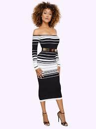Sexy Off Shoulder Striped Long Sleeve Dresses - Sell-off