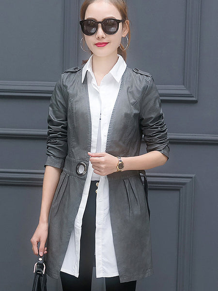 Spring Fashion Lapel Patchwork Long Coat - Sell-off